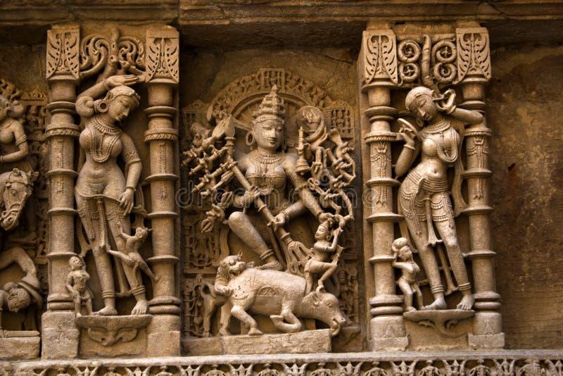 Idool van Godin Durga bij Ranien ki vav royalty-vrije stock foto's