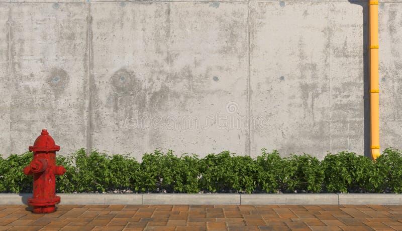 Idrante antincendio rosso sul sentiero per pedoni nel primo piano esteriore urbano Muro di cemento con il tubo di scarico giallo  fotografia stock libera da diritti