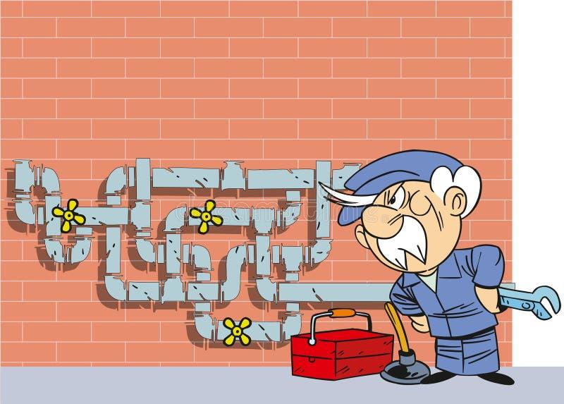 Idraulico del fumetto illustrazione di stock