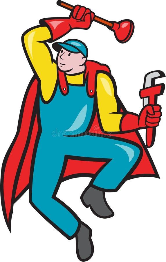 Idraulico eccellente Plunger Wrench Cartoon royalty illustrazione gratis
