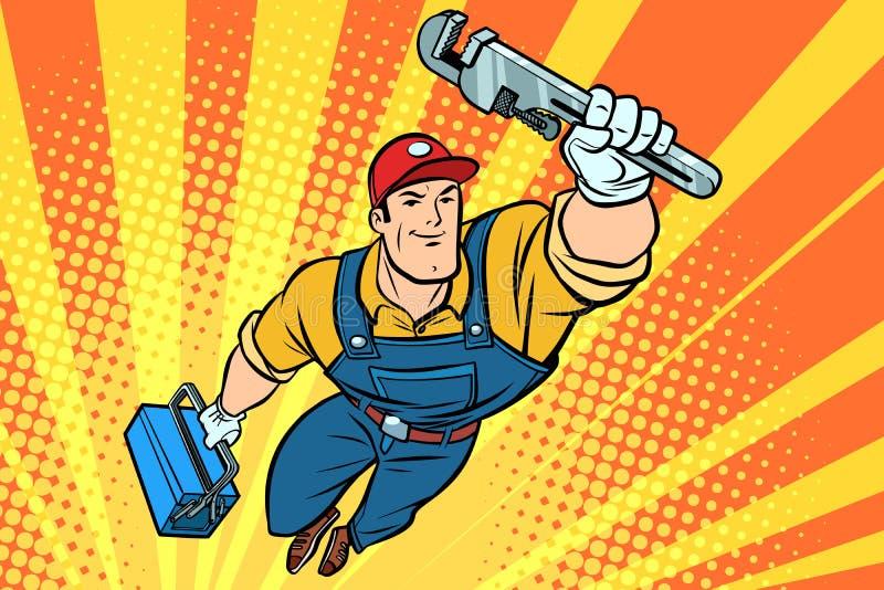 Idraulico maschio del supereroe con una chiave immagini stock libere da diritti