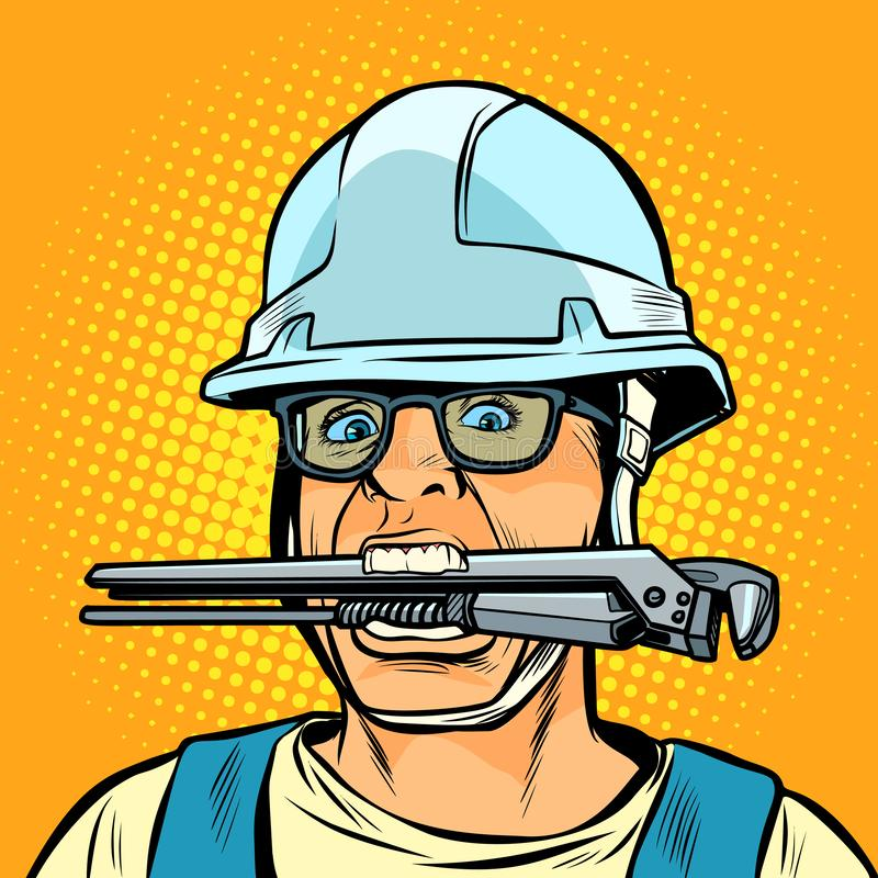 Idraulico professionista lavorante divertente con una chiave illustrazione di stock