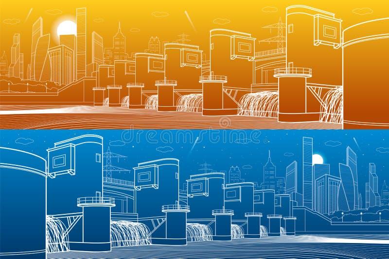Idro centrale elettrica Diga del fiume Stazione di energia Panorama industriale dell'illustrazione dell'infrastruttura della citt royalty illustrazione gratis