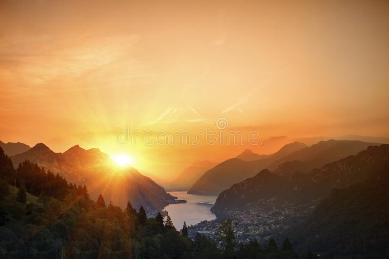 Idro lake in the mountain in the province of Bolzano late autumn. Italy. royalty free stock image