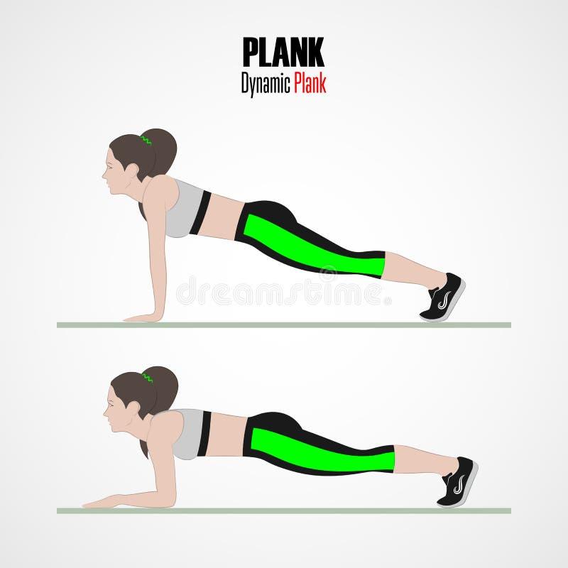 idrotts- övningar Övningar med fri vikt Dynamisk planka Illustration av en aktiv livsstil vektor illustrationer