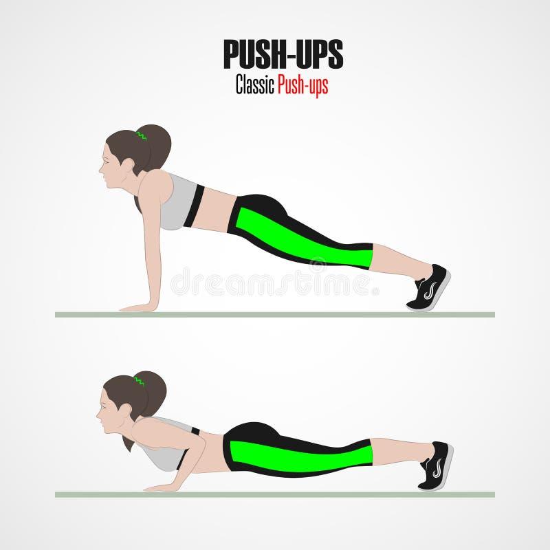 idrotts- övningar Övningar med fri vikt Liggande armhävningar Illustration av en aktiv livsstil stock illustrationer