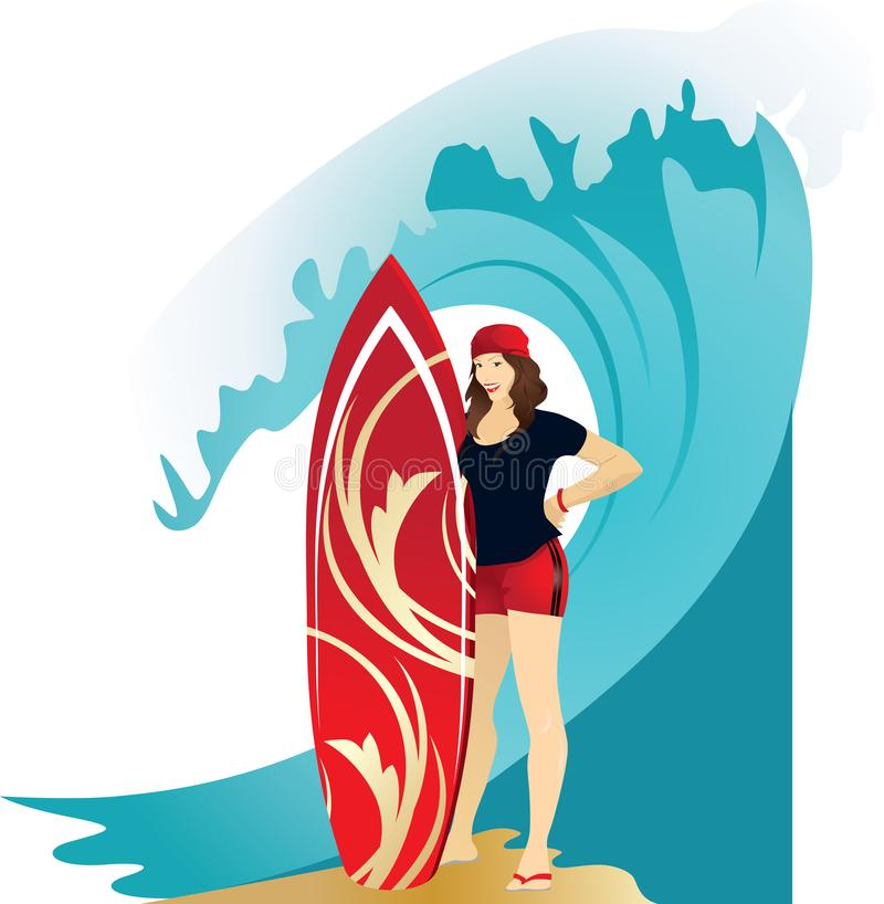Idrotts- brunettflicka i röda kortslutningar vektor illustrationer