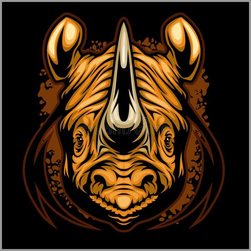 Idrotts- design för noshörning som är färdig med illustrationen för noshörningmaskotvektor vektor illustrationer