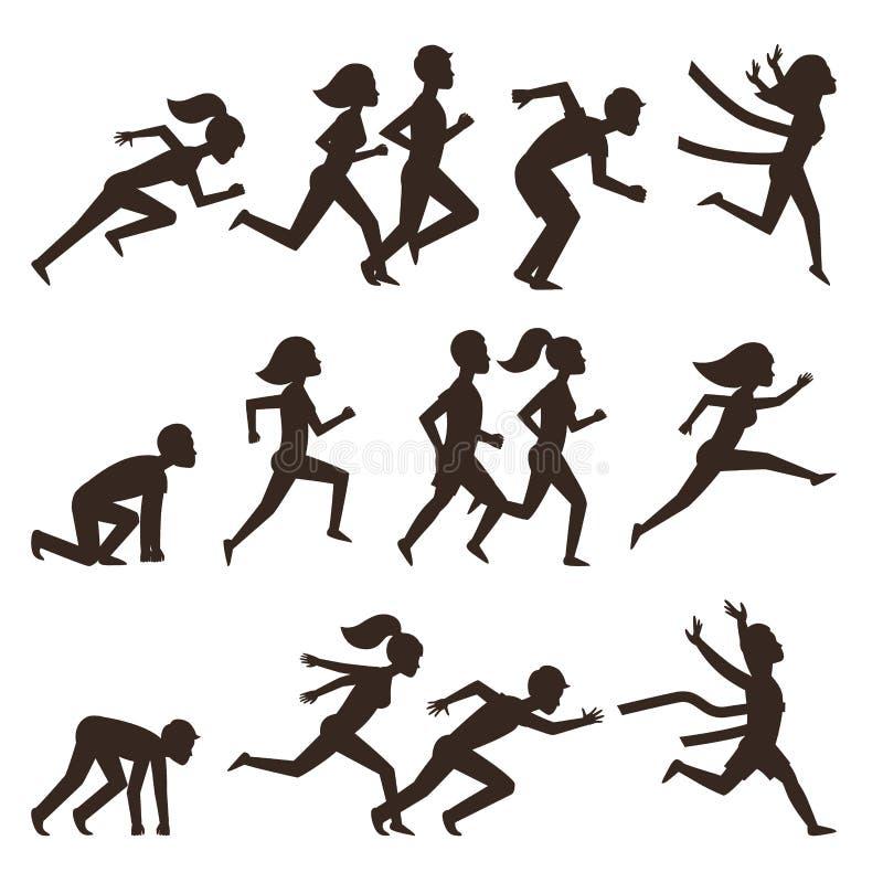 Idrotts- kontur för körningsmanfolk som joggar sommarsporten som tycker om löparen som övar deras sunda livsstilvektor vektor illustrationer
