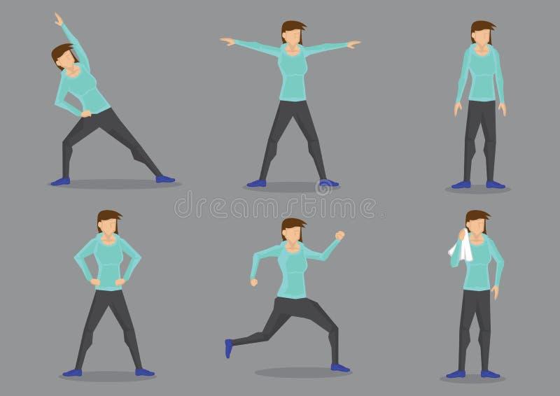 Idrotts- kvinna i träningsoverall som övar vektorteckenet - uppsättning vektor illustrationer