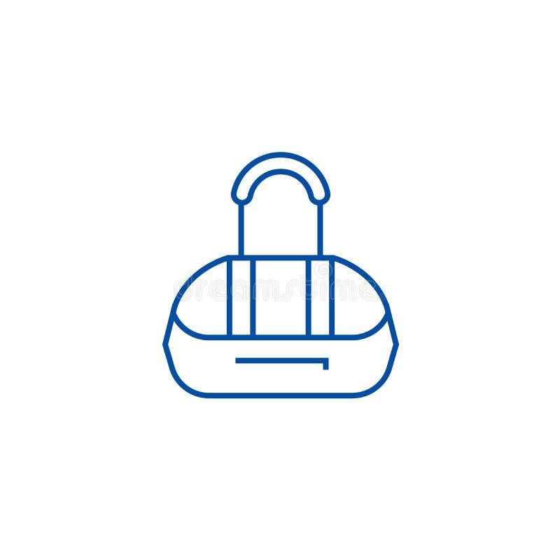 Idrotts- påselinje symbolsbegrepp Plant vektorsymbol för idrotts- påse, tecken, översiktsillustration vektor illustrationer