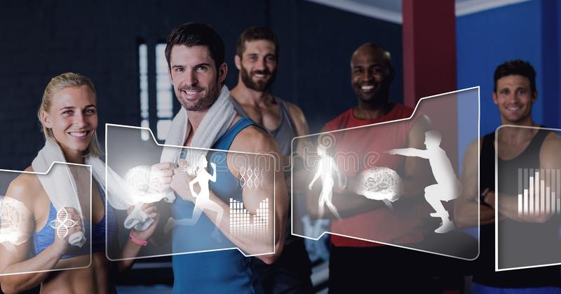 Idrotts- passformgrupp människor i idrottshall med den vård- manöverenheten royaltyfria foton