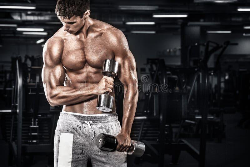 Idrotts- shirtless ung sportman - konditionmodellen rymmer hanteln i idrottshall Kopieringsutrymmeför din text royaltyfri fotografi