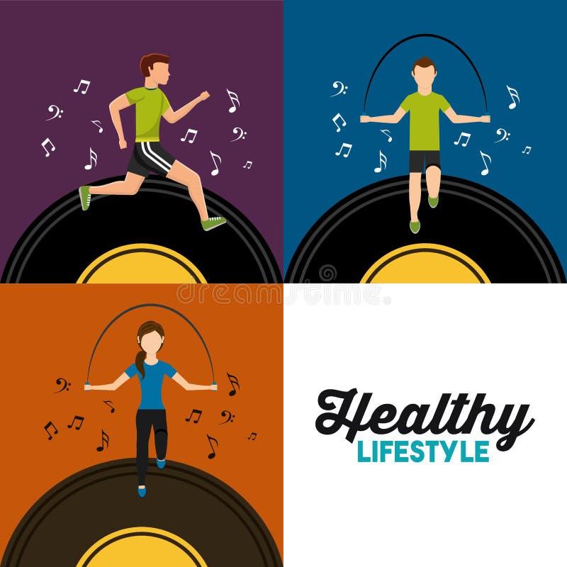 Idrotts- sport för sunt livsstiluppsättningfolk med musik vektor illustrationer