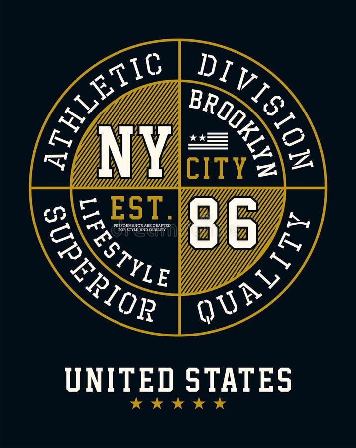 Idrotts- T-tröjadiagram för uppdelning NYC Brooklyn royaltyfri illustrationer