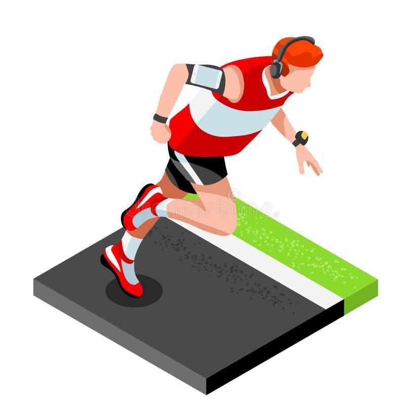 Idrotts- utbildning för maratonlöpare som utarbetar idrottshall Löpare som kör friidrott stock illustrationer