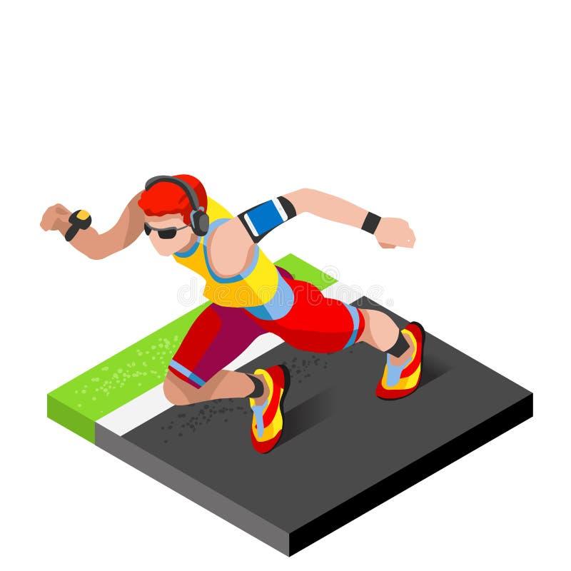 Idrotts- utbildning för maratonlöpare som utarbetar idrottshall Löpare som kör friidrott, springer att utarbeta för internationel royaltyfri illustrationer