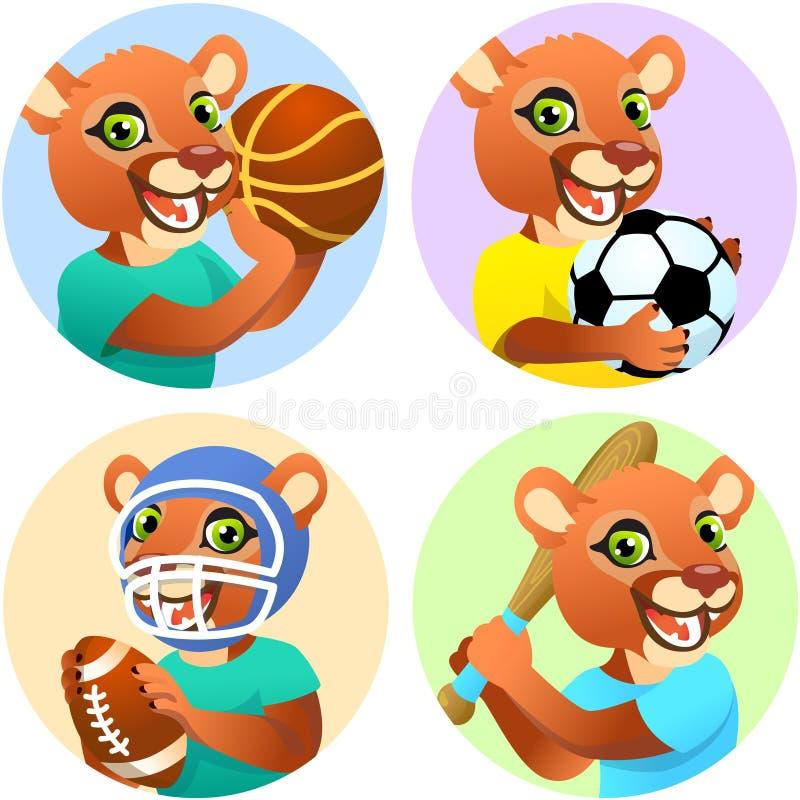 Idrottsemblem för basket, fotboll, amerikansk fotboll och baseboll med en vild soffa i t-tröjan som idrottsman stock illustrationer