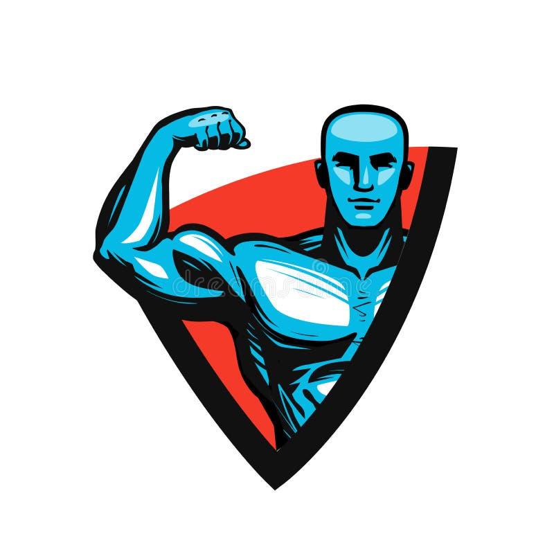 Idrottshall, bodybuilding, konditionlogo eller etikett Muskelman eller kroppsbyggare också vektor för coreldrawillustration vektor illustrationer