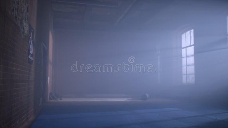 Idrottshall i källaren Inre av en boxningkorridor i vindstil Tomt brottningrum Grungeidrottshallinre med utrustning fotografering för bildbyråer