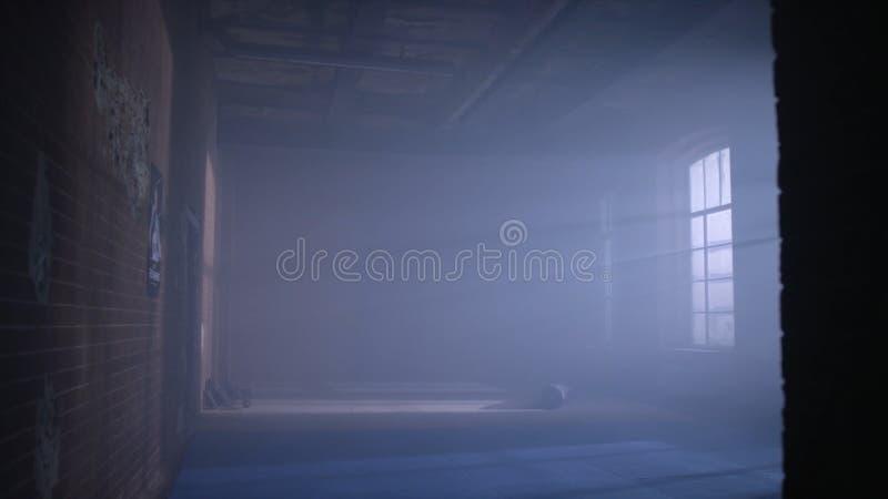 Idrottshall i källaren Inre av en boxningkorridor i vindstil Tomt brottningrum Grungeidrottshallinre med utrustning royaltyfri foto