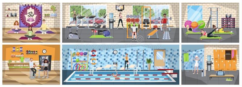 Idrottshallbyggnadsinre Idrotts- folk som gör sportövning royaltyfri illustrationer