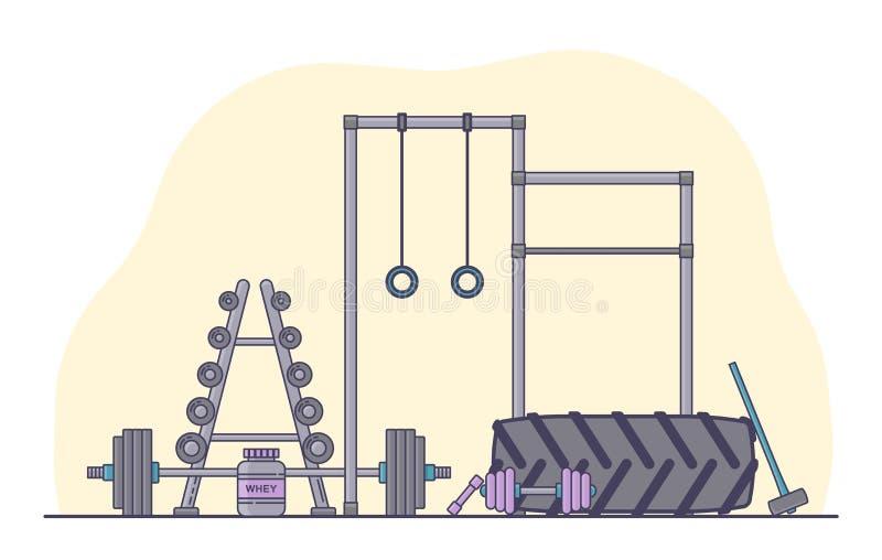 Idrottshallutrustninguppsättning Olik konditiontillbehörsamling Bodybuilding- och crossfitequipementen isolerade Plan stil stock illustrationer