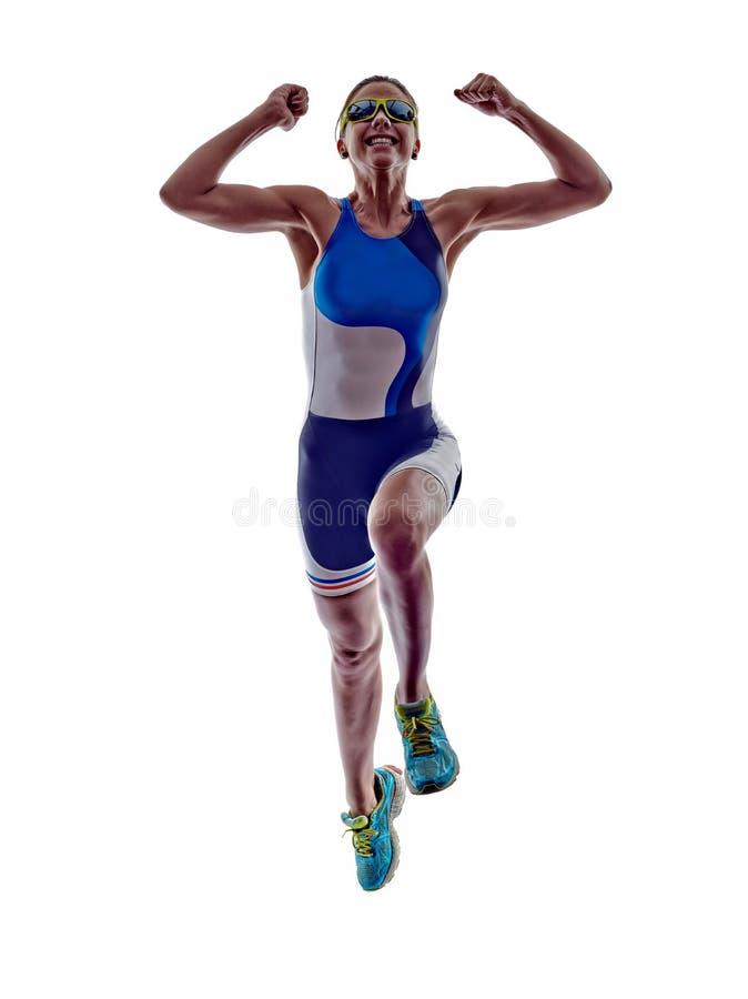 Idrottsman nen för löpare för kvinnatriathlonironman rinnande royaltyfri bild