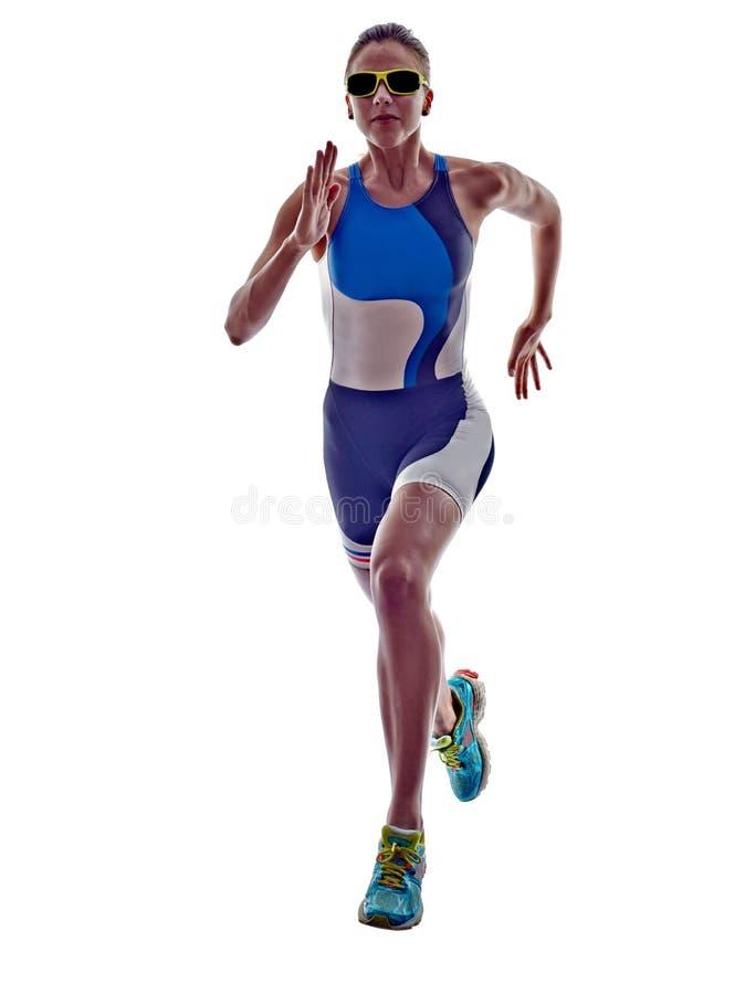 Idrottsman nen för löpare för kvinnatriathlonironman rinnande arkivbilder