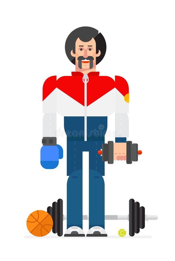 Idrottsman nen i en plan stil för tecknad film Illustration av teckenidrottsmannen Bilden isoleras på vit bakgrund Teckendesign royaltyfri illustrationer