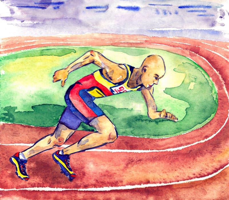 Idrottsman nen i enhetliga körningar för sportar på löparbana på stadion under en konkurrens, hand målad vattenfärg stock illustrationer