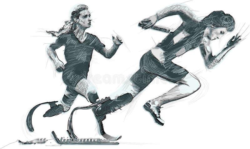 Idrottsman nen med fysiska handikapp - SPRINTA och ATT KÖRA stock illustrationer