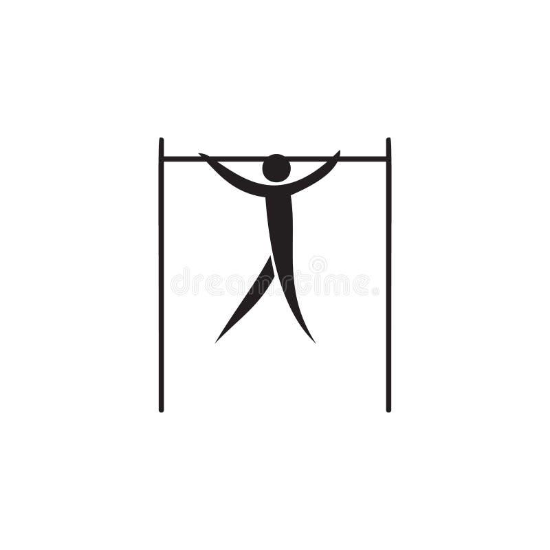 idrottsman nen på en horisontalstångsymbol Beståndsdelar av idrottsmansymbolen Högvärdig kvalitets- symbol för grafisk design Tec vektor illustrationer