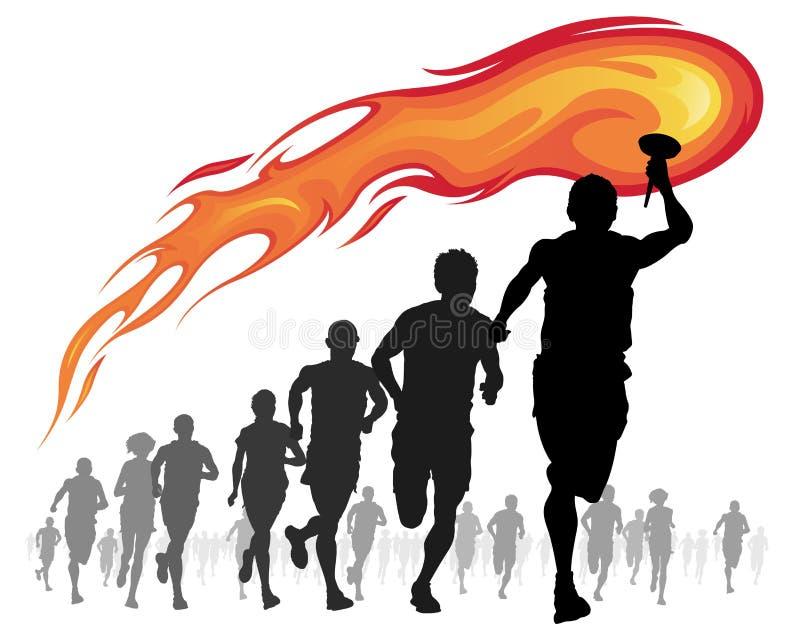 Idrottsman nenar med flammfacklan. stock illustrationer