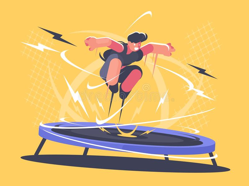 Idrottsman nenbanhoppning på trampolinen vektor illustrationer