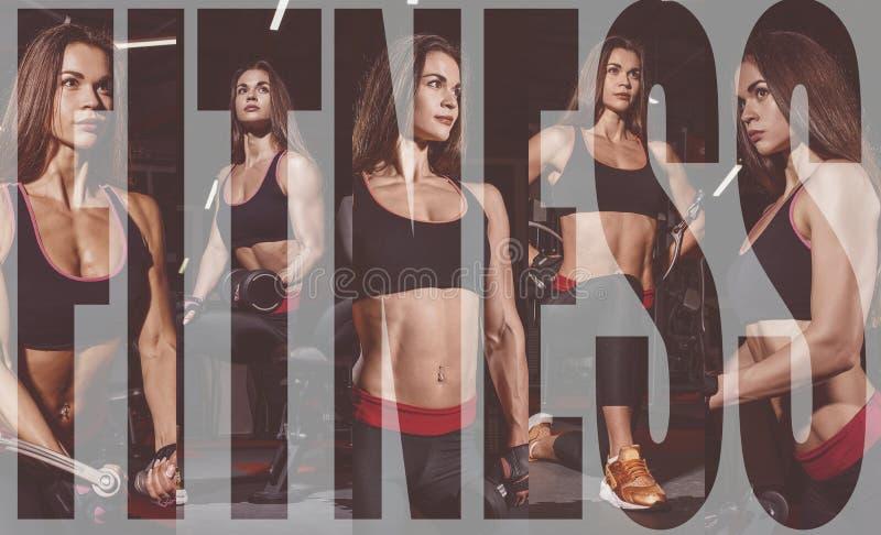Idrottsman nenflicka i sportswear som utarbetar och utbildar henne armar och skuldror med övningsmaskinen i idrottshall Collage a arkivbild