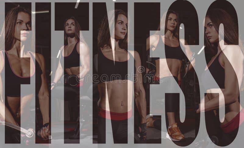 Idrottsman nenflicka i sportswear som utarbetar och utbildar henne armar och skuldror med övningsmaskinen i idrottshall Collage a royaltyfri foto