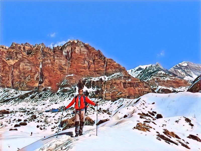 Idrottsman som trekking i Nepal berg Digital illustration i målningstil Fotvandra i Himalaya stock illustrationer