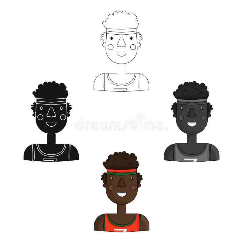 Idrottsmansymbol i tecknade filmen, svart stil som isoleras på vit bakgrund Folk av den olika vektorn f?r yrkesymbolmateriel stock illustrationer