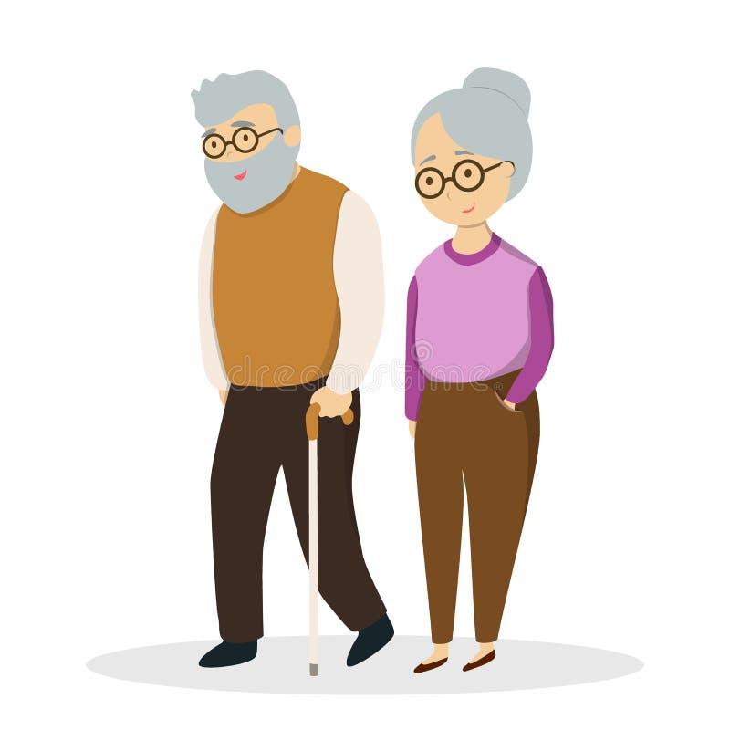 Idsolated elderly couple. Idsolated cute elderly couple on white background vector illustration