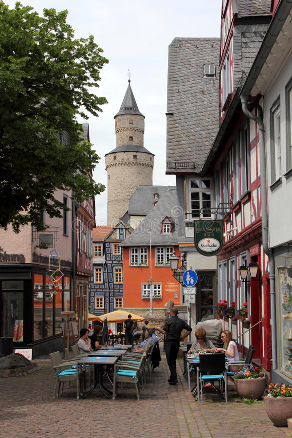 Idstein, Germany. Medieval architecture and half-timbered houses (or Fachwerk) in Idstein, Hesse, Germany. The German Timber-Frame Road (Deutsche Fachwerkstra stock image