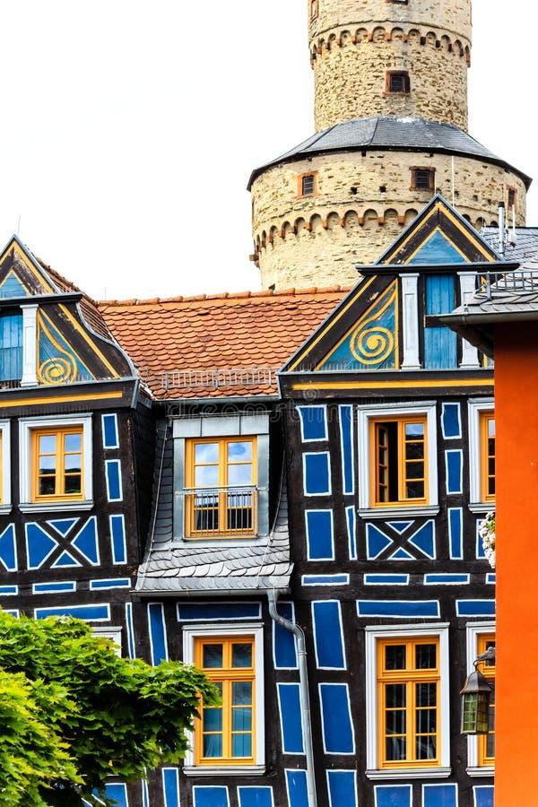 Idstein - pittoreskt trä timrad gammal stad i de Taunus bergen, Tyskland arkivbilder