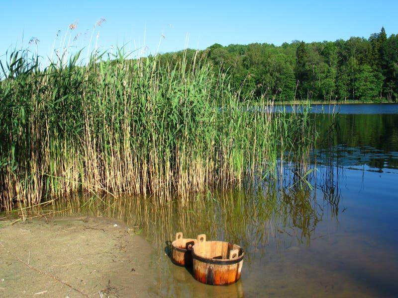 Idyl van de zomer dichtbij het meer stock afbeeldingen