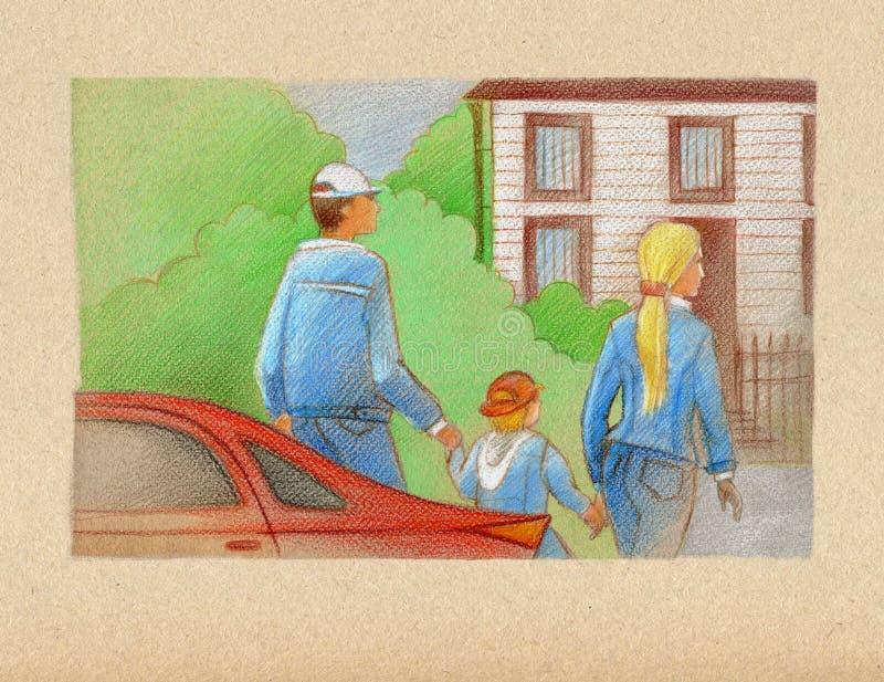 Idylle de famille Famille : le p?re, la m?re et l'enfant, vont de la voiture rouge ? la maison blanche derri?re le jardin illustration de vecteur