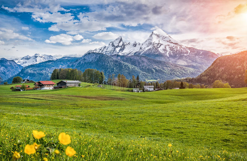Idyllic alpine landscape with green meadows, farmhouses and snowcapped mountain tops royalty free stock photography
