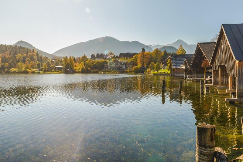 Grundlsee, Styria, Austria. Idyllic autumn scene in Grundlsee lake. Location: resort Grundlsee, Liezen District of Styria, Austria, Alps. Europe stock photography