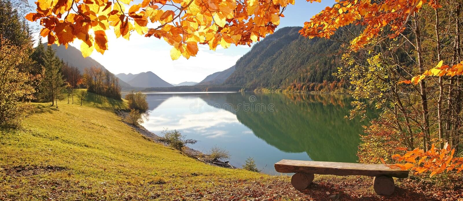Idyllic Autumnal Scenery Lake Sylvenstein, Germany Stock Photo
