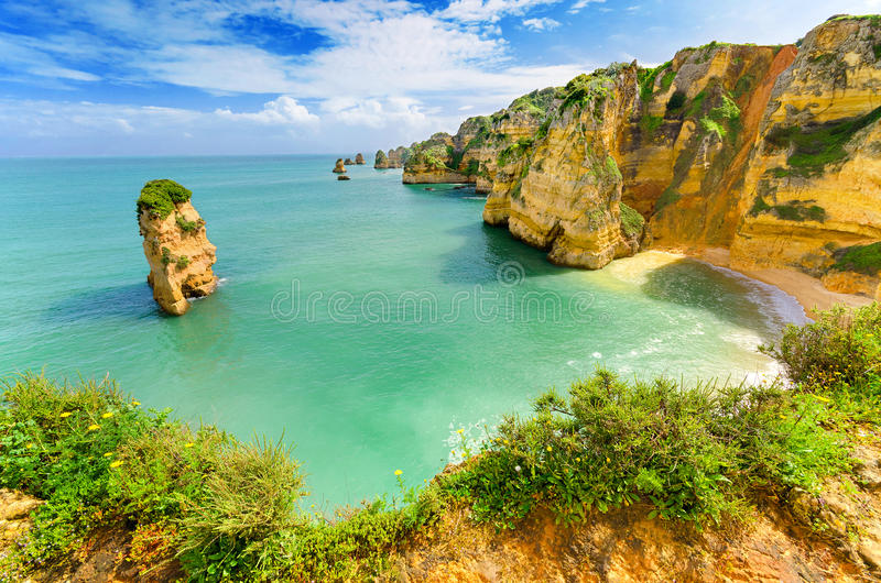 Idyllic beach landscape at Lagos, (Portugal) royalty free stock photos