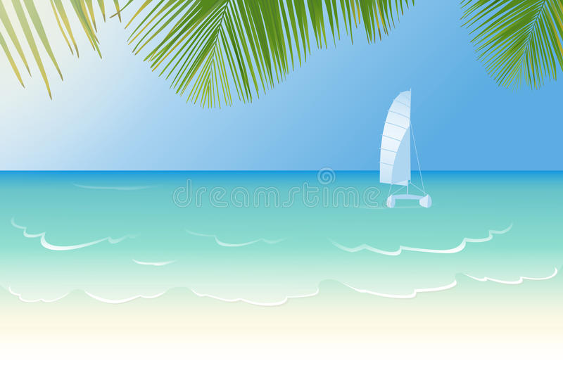 Idyllic beach lapped by the waves. Idyllic white sandy beach lapped by the waves of crystal clear blue sea, catamaran and palm tree leaves vector illustration royalty free illustration