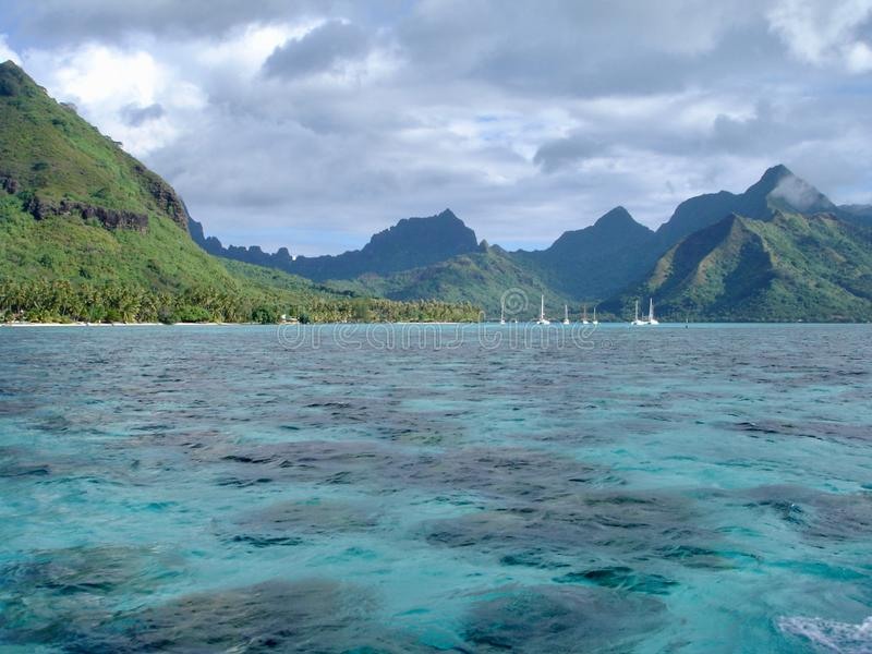 Idyllic beach located in Tahiti. Seascape in Morea, French Polynesia royalty free stock images